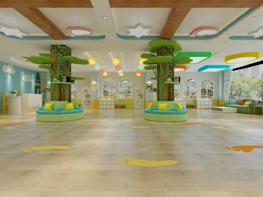 现代幼儿园大厅3D模型【ID:624889043】