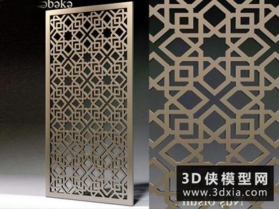 中式雕花隔斷國外3D模型【ID:929660546】