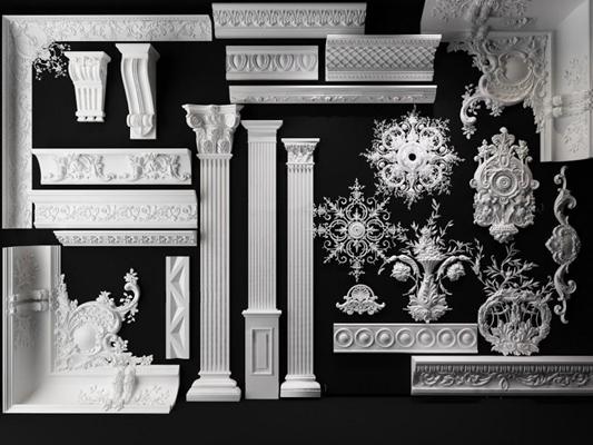 歐式石膏線雕花雕塑石膏柱3D模型【ID:828134471】