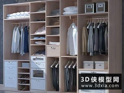 现代衣柜模型国外3D模型【ID:829348074】