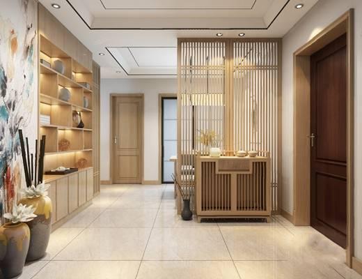 中式客厅3D模型【ID:124894233】