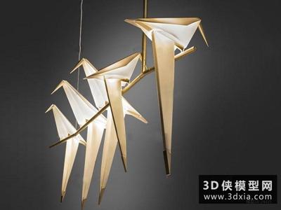 现代千纸鹤吊灯国外3D模型【ID:829344773】