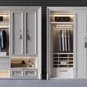 白色简欧实木衣柜3D模型【ID:928352937】