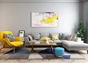 北欧布艺转角多人沙发休闲椅茶几组合3D模型【ID:127751084】