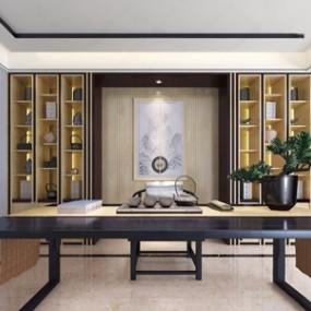 柏舍设计新中式茶室3D模型【ID:328255734】