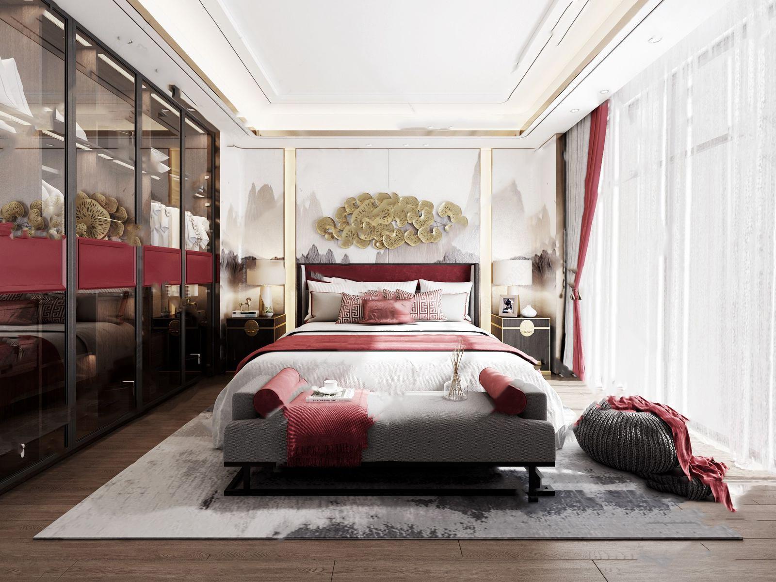 新中式卧室3D模型【ID:541359220】