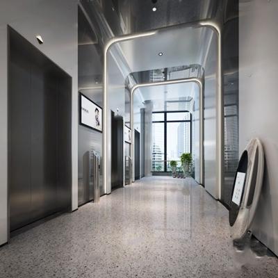 現代商場電梯間3D模型【ID:127855774】