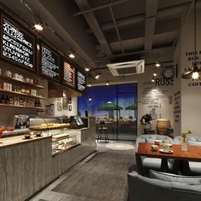 工业风咖啡厅3D模型【ID:327923695】