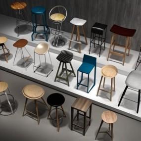 现代时尚吧椅组合3D模型【ID:327894182】