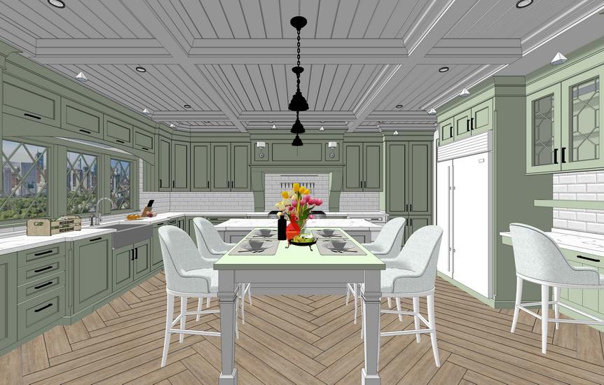 美式厨房室内设计SU模型【ID:737112186】