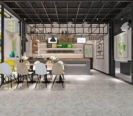 现代奶茶店3D模型【ID:124884292】