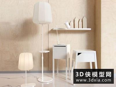 现代落地灯台灯组合国外3D模型【ID:929408091】