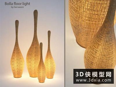 现代藤艺落地灯国外3D模型【ID:929666093】