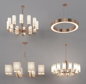 现代金属吊灯组合3D模型【ID:527797886】