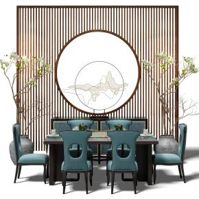 新中式餐桌椅背景墻組合3D模型【ID:327783497】