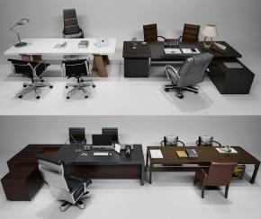 现代办公桌椅大班台摆件组合3D模型【ID:627805628】