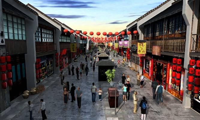 中式商业街3D模型【ID:124881242】