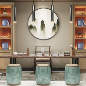 新中式茶室3D模型【ID:327916784】