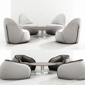 现代单人沙发桌子组合3D模型【ID:928192662】