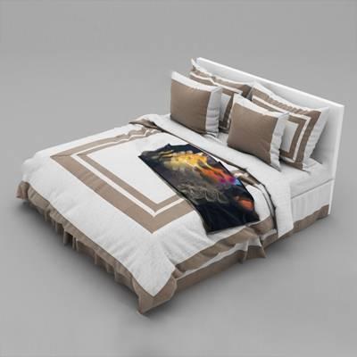 现代双人床3D模型下载【ID:719438030】