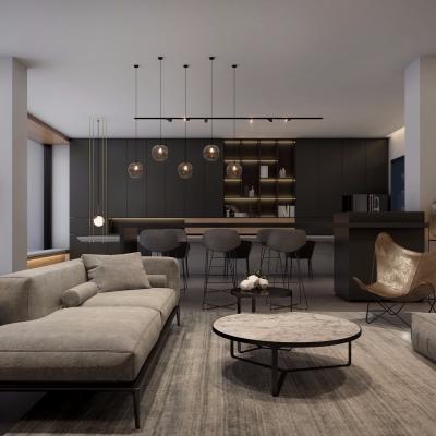 现代家居休验店办公室休息区洽谈区3D模型【ID:828474065】