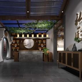 新中式中餐厅3D模型【ID:328442435】