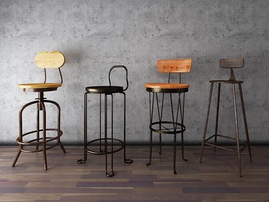 loft鐵藝銅制吧椅3D模型【ID:327899186】