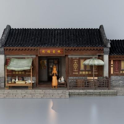 新中式古建外观3D模型【ID:527801608】