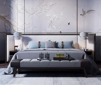 新中式床具组合3d模型【ID:728319076】