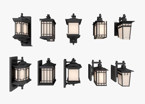 新中式户外壁灯3d模型