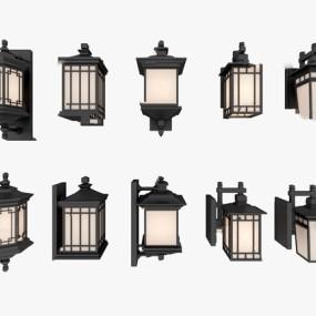 新中式户外壁灯3d模型【ID:748245949】
