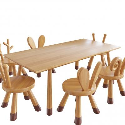 现代实木儿童桌椅3D模型【ID:928557247】