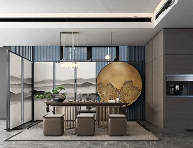 新中式茶室3D模型【ID:641713156】