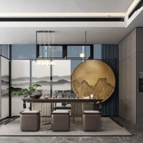 新中式茶室 3D模型【ID:641713156】