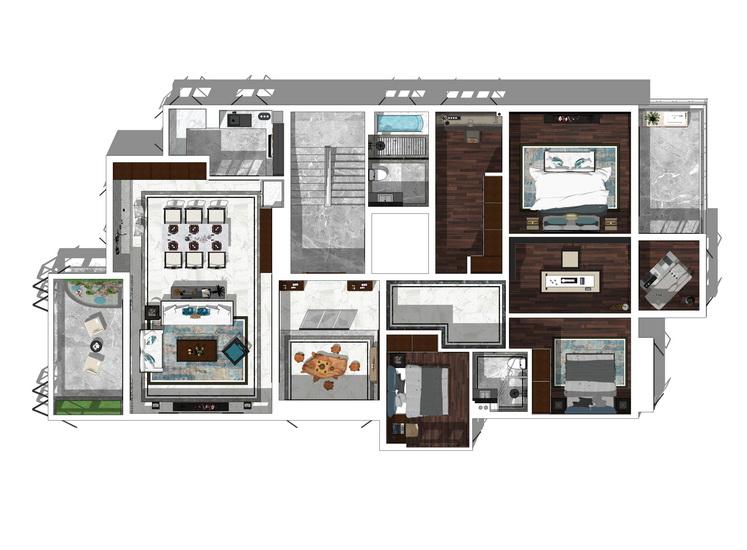 紫麟山中式風格四房兩廳室內設計SU模型【ID:437114967】