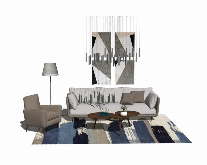 北欧风格客厅沙发茶几吊灯组合SU模型【ID:437114176】