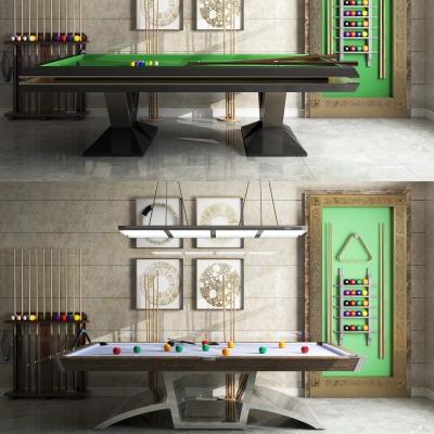 现代桌球台球棒架组合3D模型【ID:927834996】