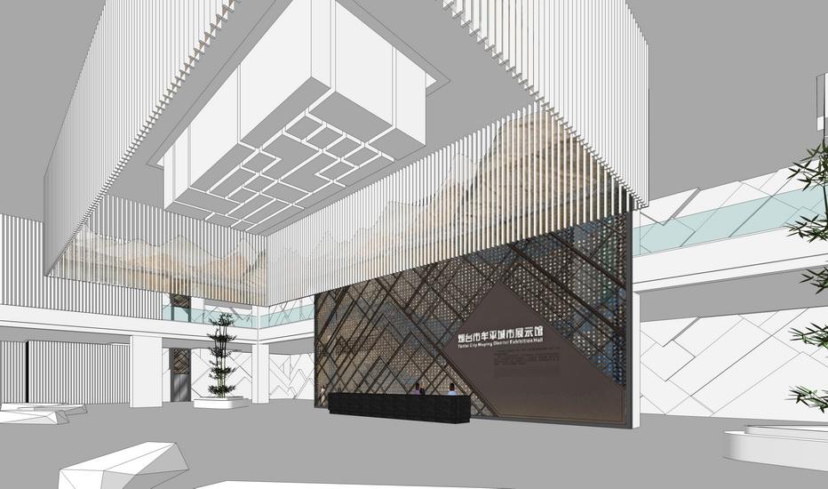 現代展示館大堂室內設計SU模型【ID:637114081】