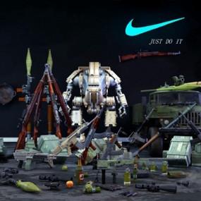 现代绝地求生武器组合3D模型【ID:626222595】