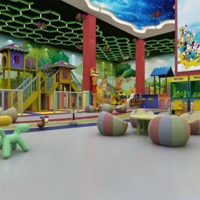现代幼儿园室内游乐场3D模型【ID:728214012】