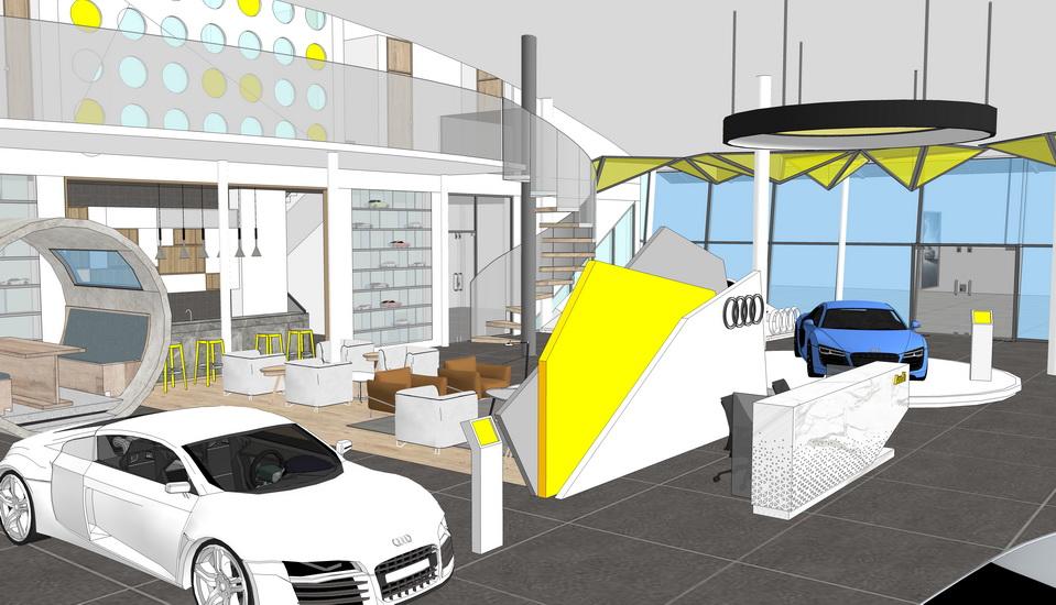 4S店汽車展廳室內設計SU模型【ID:937114892】