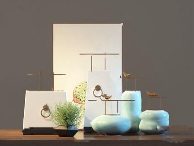 新中式花瓶擺件組合3D模型【ID:241631575】