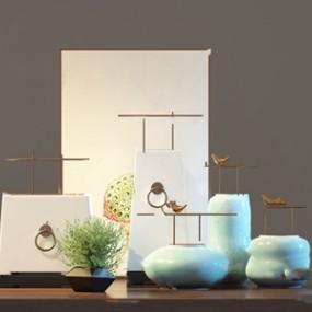 新中式花瓶擺件組合 3D模型【ID:241631575】