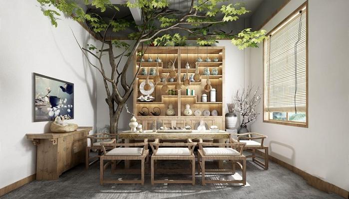 新中式茶室3D模型【ID:328247785】