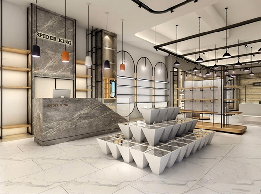现代鞋类展示大厅3D模型【ID:528037475】