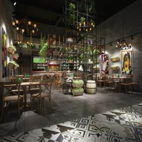 工业风LOFT餐厅 3D模型【ID:640701299】