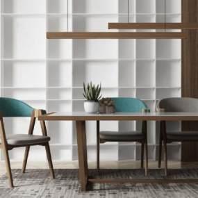 北歐餐桌椅組合3D模型【ID:849061850】