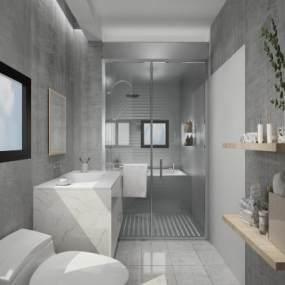 现代厕所卫生间3D模型【ID:531756534】