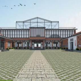 新中式书院外观3D模型【ID:134986649】