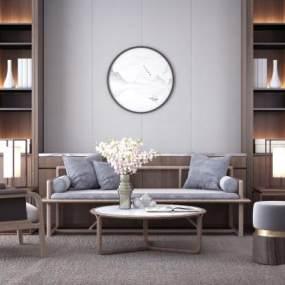 新中式沙发茶几组合3D模型【ID:632015700】